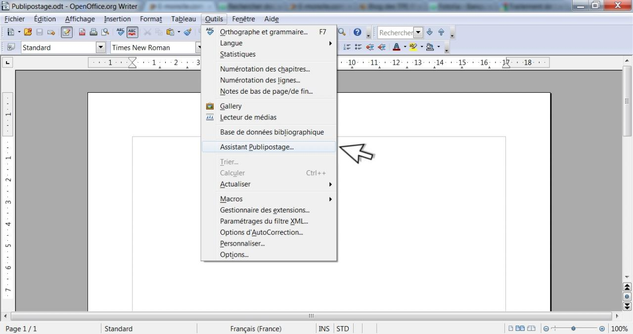 Comment cr er un publipostage - Faire un camembert sur open office ...
